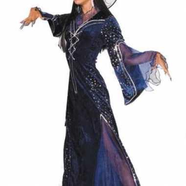 Lange heksen verkleedkleren dames paars