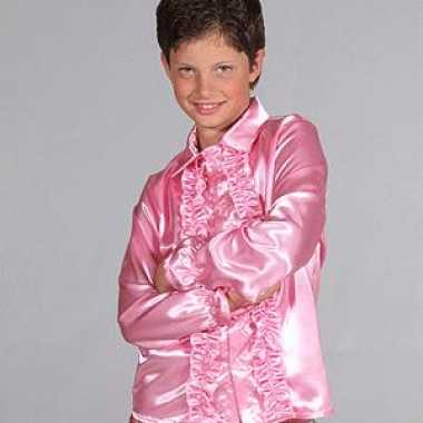 Luxe rouches verkleedkleren roze voor kids