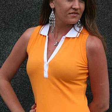 Oranje mouwloze dames polo katoen