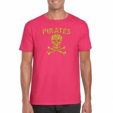 Piraten shirt / foute party verkleed verkleedkleren / verkleedkleren goud glitter roze heren