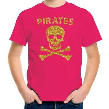 Piraten shirt verkleed shirt goud glitter roze voor kinderen