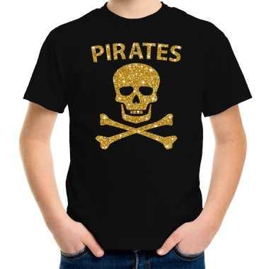 Piraten verkleed shirt goud glitter zwart voor kinderen