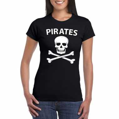Piraten verkleed shirt zwart dames