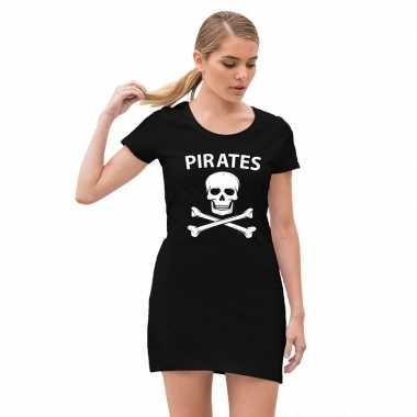 Piraten verkleed verkleedkleren met doodshoofd zwart voor dames