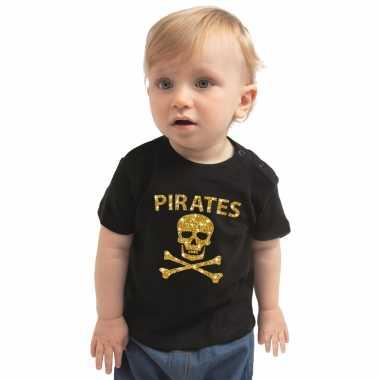 Piraten verkleedkleren shirt goud glitter zwart voor babys