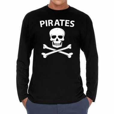 Pirates long sleeve t shirt zwart voor heren