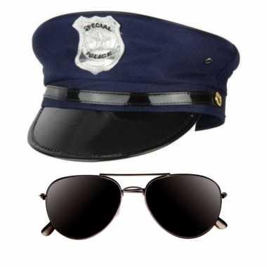 Politie agent verkleed setje pet en donkere zonnebril