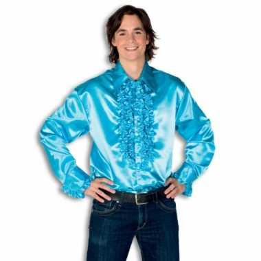 Rouche overhemd heren turquoise