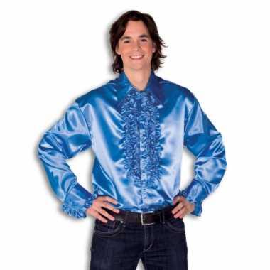 Rouche overhemd voor heren blauw