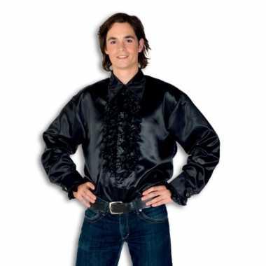 Rouche overhemd voor heren zwart