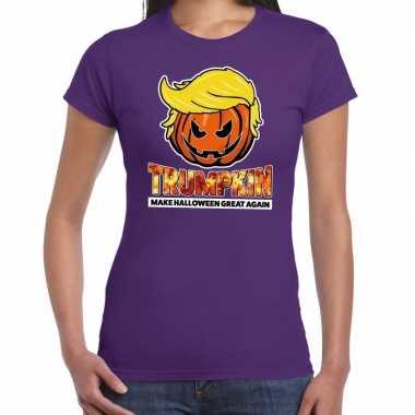 Trumpkin make halloween great again t shirt paars voor dames