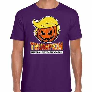 Trumpkin make halloween great again t shirt paars voor heren