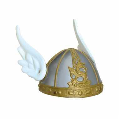 Zilveren asterix helm met vleugels