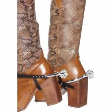 Zilveren cowboy verkleed sporen voor laarzen