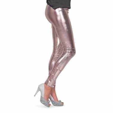 Zilveren metallic legging