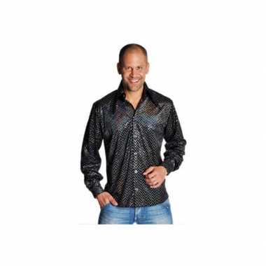 Zwart disco overhemd met glitters