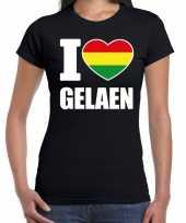 Carnaval i love gelaen t-shirt zwart voor dames