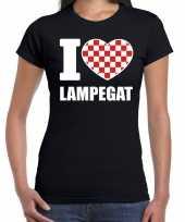 Carnaval i love lampegat t-shirt zwart voor dames