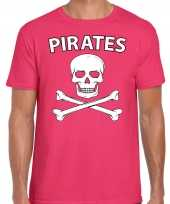 Fout piraten shirt foute party verkleed shirt roze heren