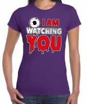 Halloween i am watching you verkleed t-shirt paars voor dames