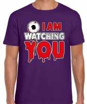Halloween i am watching you verkleed t-shirt paars voor heren