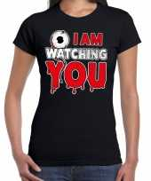 Halloween i am watching you verkleed t-shirt zwart voor dames